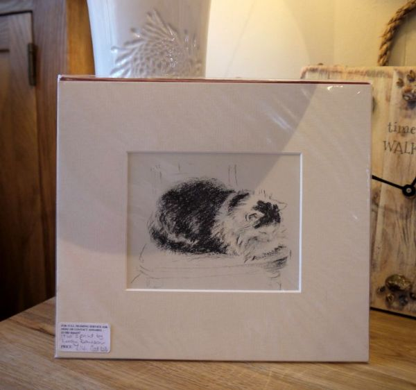 Fluffy cat on chair - Cat D3 - 1940's print by Lucy Dawson